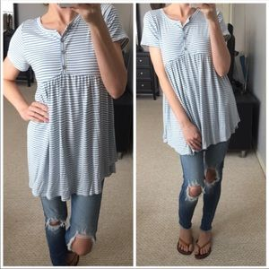 Blue Striped Babydoll Button Up